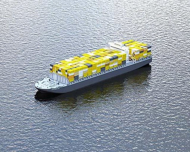 With the container cargo ship, her move container goes overseas. Uebersee-Umzug.jpg